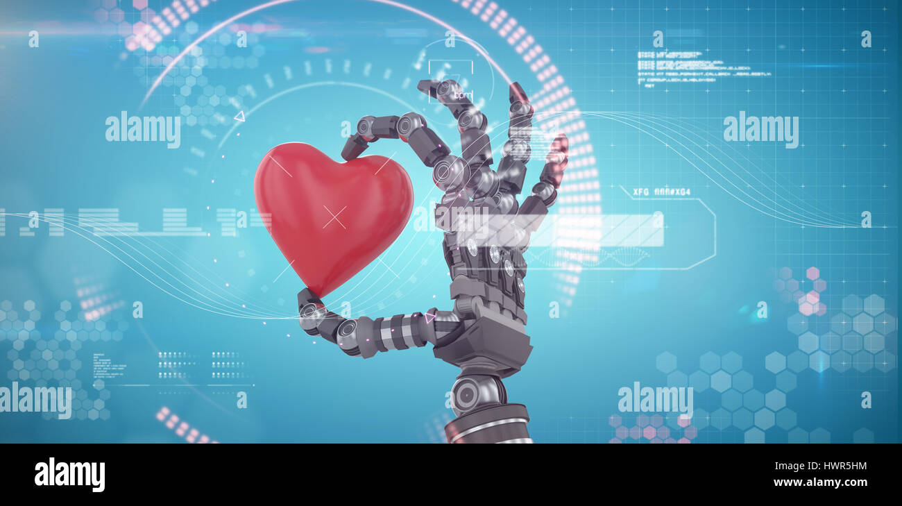 3d image of robot hand holding red heard shape decoration against digital generated image of blue dial Stock Photo