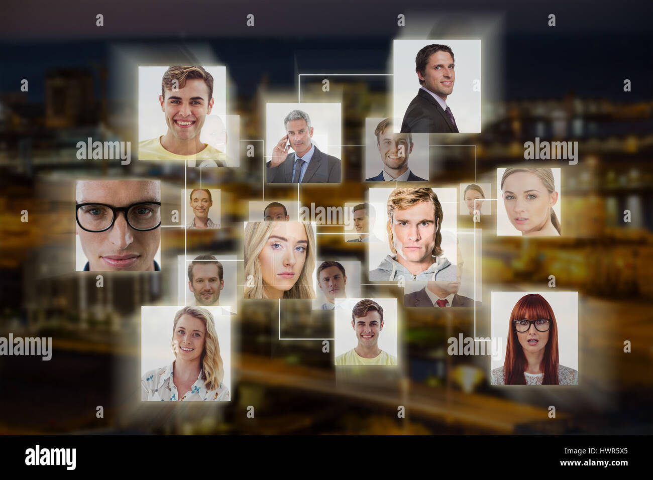 Composite image of headshots against illuminated buildings in city - Stock Image