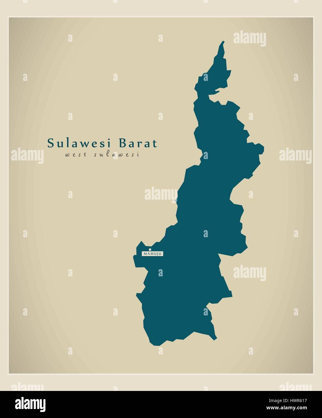 Modern Map - Sulawesi Barat ID - Stock Vector