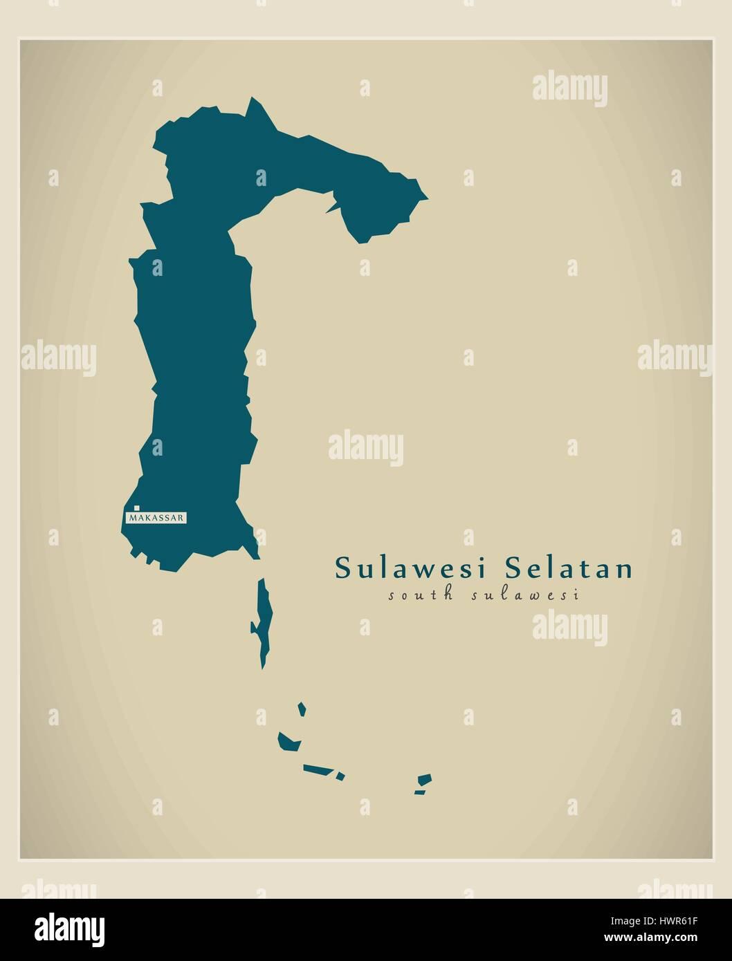 Modern Map - Sulawesi Selatan ID - Stock Vector