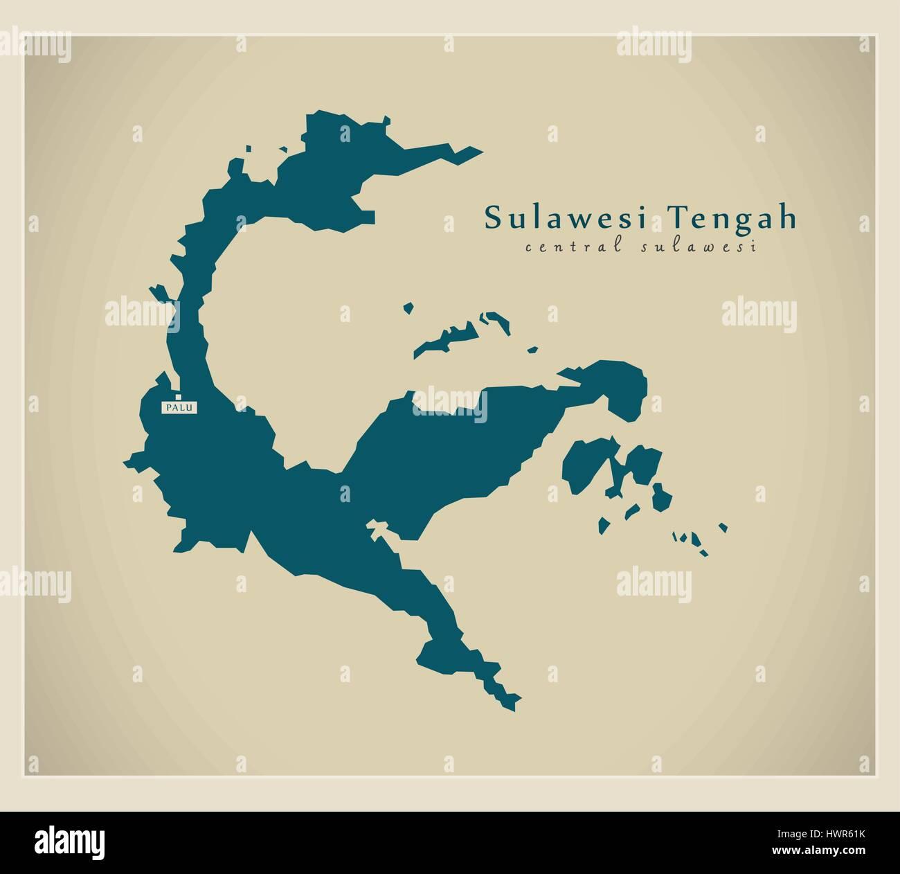 Modern Map - Sulawesi Tengah ID - Stock Vector