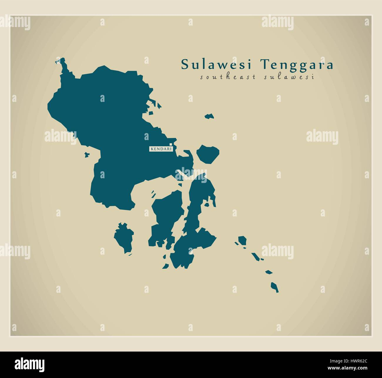 Modern Map - Sulawesi Tenggara ID - Stock Vector
