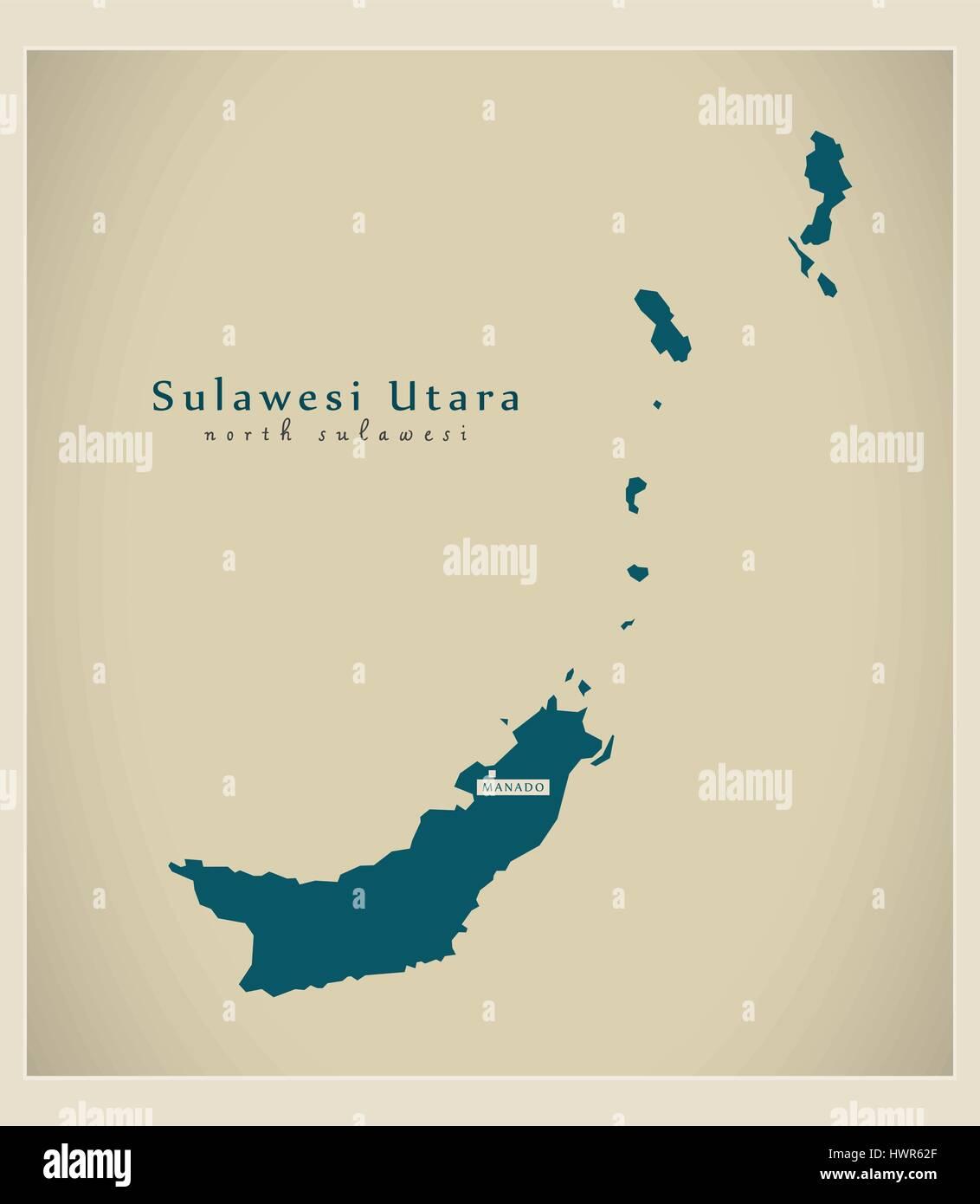 Modern Map - Sulawesi Utara ID - Stock Vector