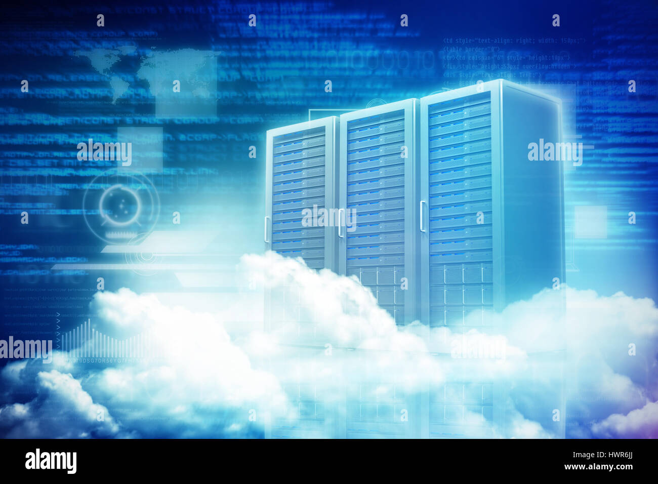Scenic view of white fluffy clouds against three digital grey server towers 3d - Stock Image