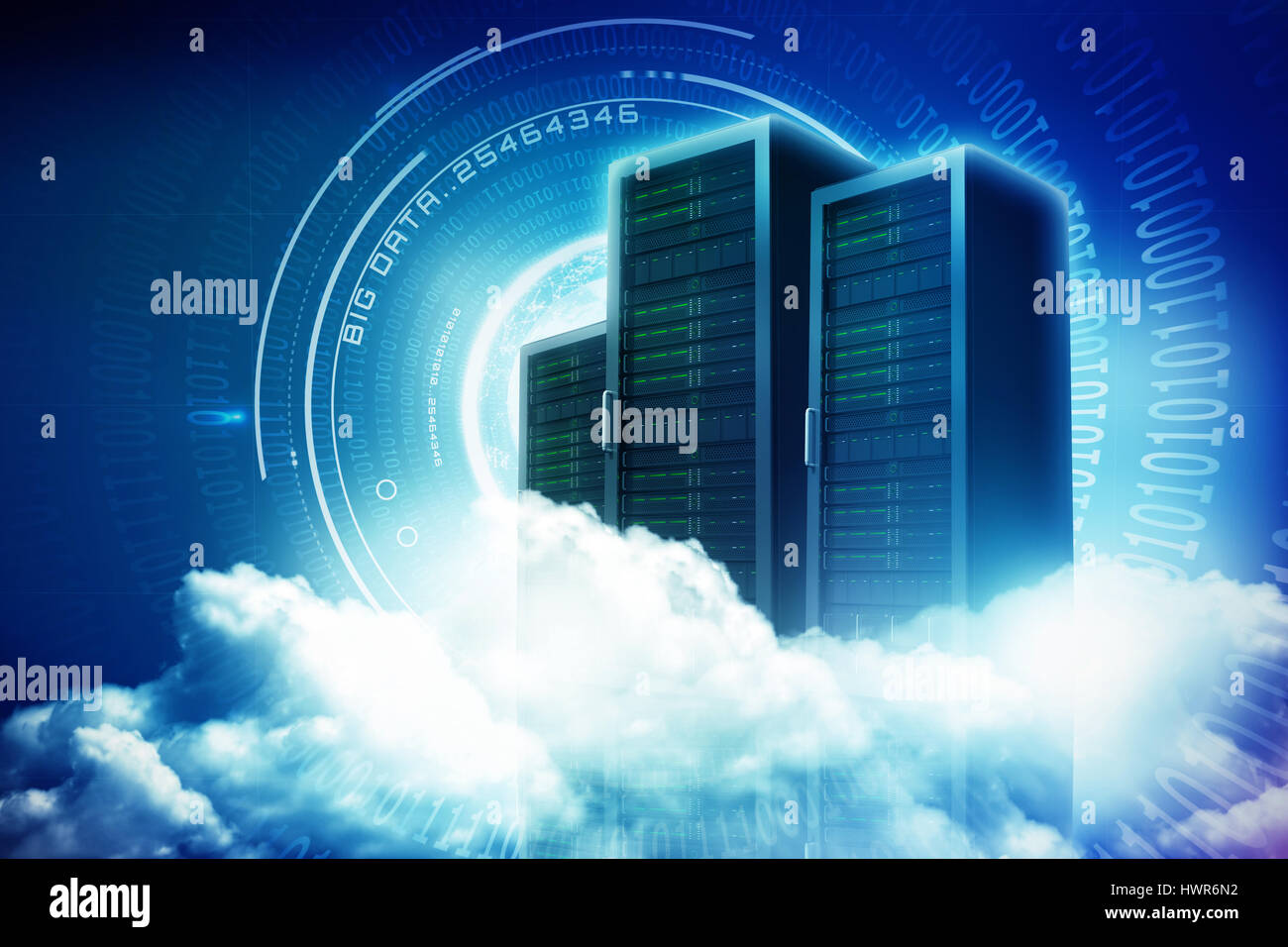 Scenic view of white fluffy clouds against spiral of shiny binary code 3d - Stock Image