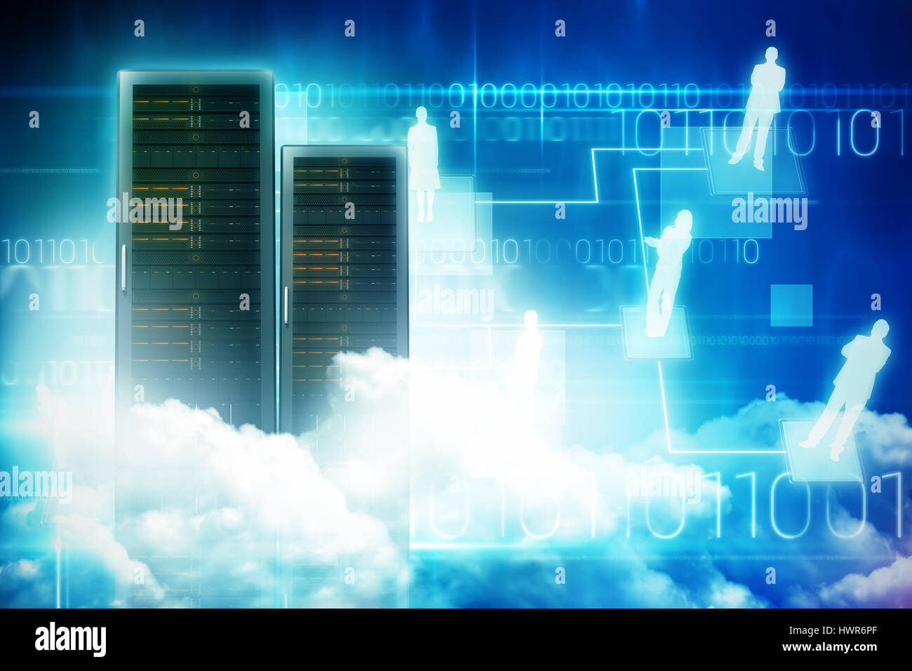 Scenic view of white fluffy clouds against blue technology design with binary code 3d - Stock Image