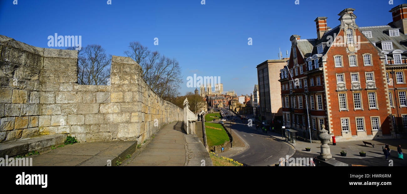 panoramic view of city walls york minster and the grand hotel york yorkshire united kingdom - Stock Image
