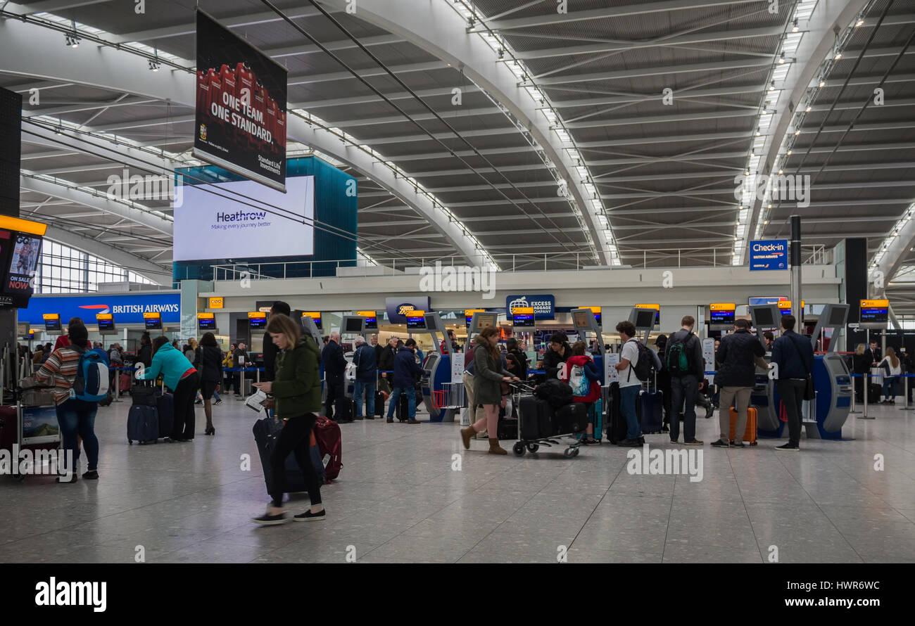 Heathrow Terminal 5 Departures - Stock Image