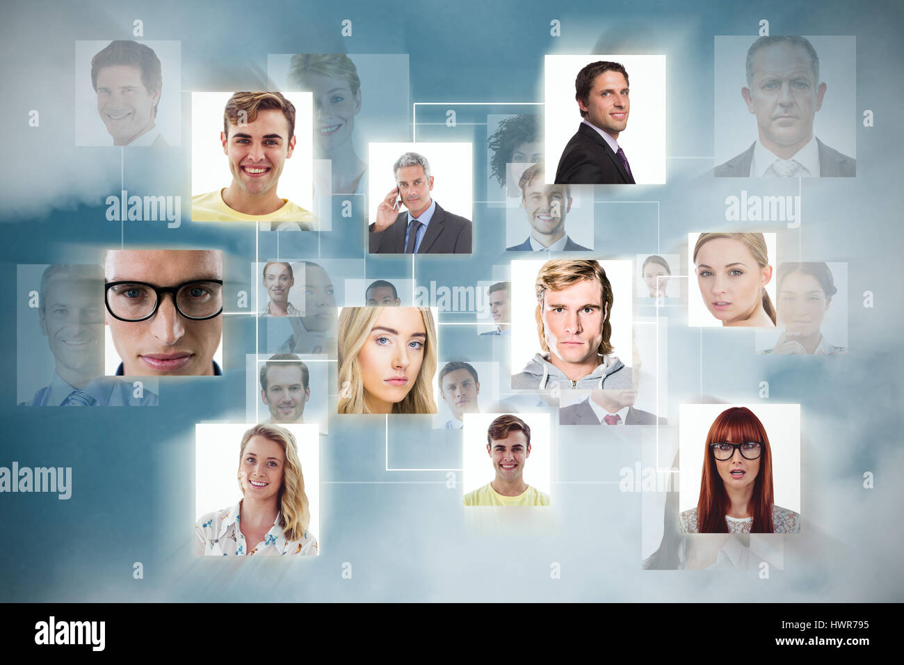 Composite image of headshots against dark blue background - Stock Image