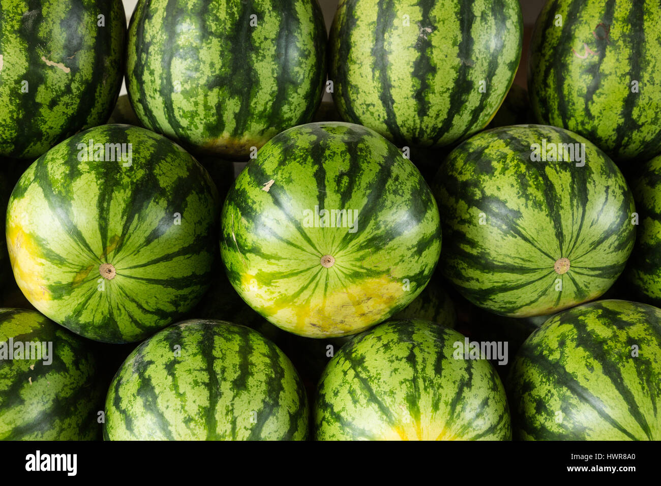 Watermelons for sale at a market stand in Paramaribo, Suriname. - Stock Image