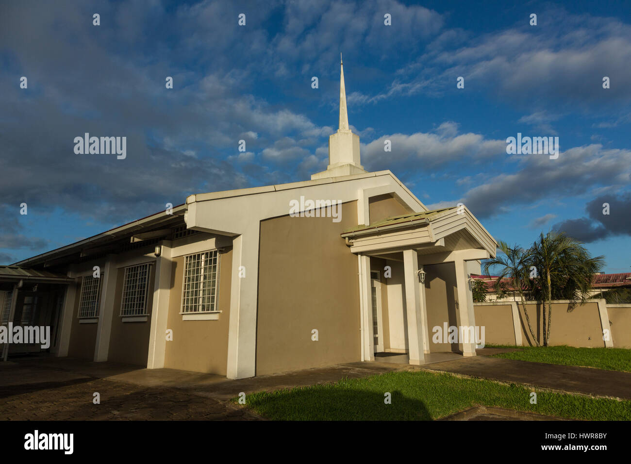 Meetinghouse or chapel of the Church of Jesus Christ of Latter-day Saints, or Mormons, in Paramaribo, Suriname. - Stock Image
