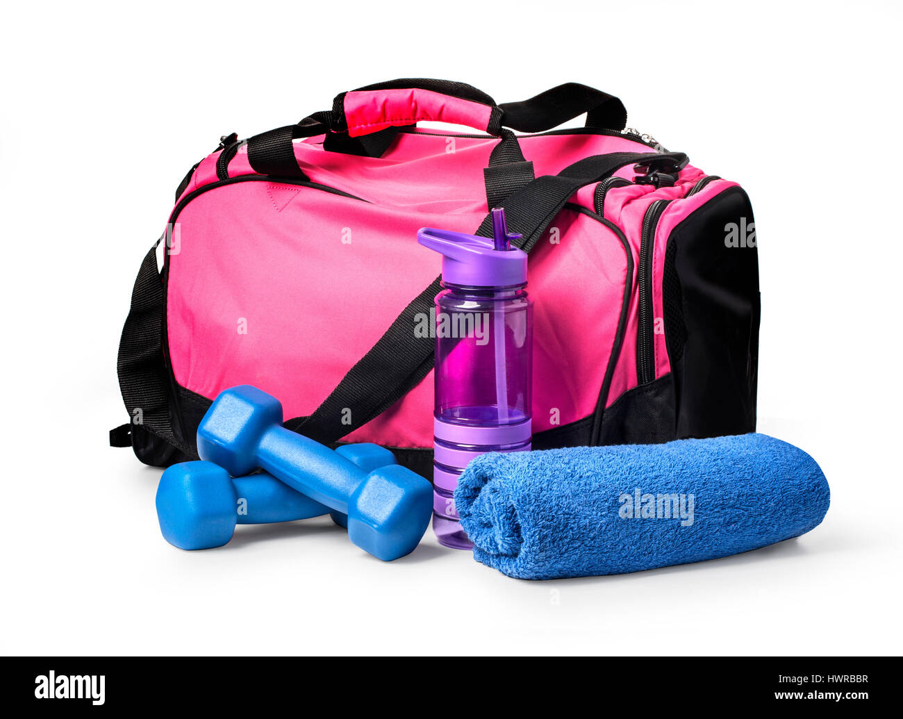 8e6d50fe4f Sports bag with sports equipment isolated on white with clipping path
