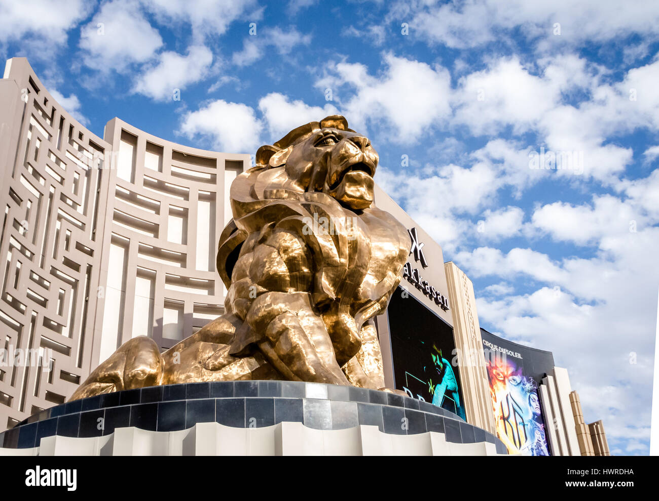 Golden Lion at MGM Grand Hotel and Casino - Las Vegas, Nevada, USA - Stock Image
