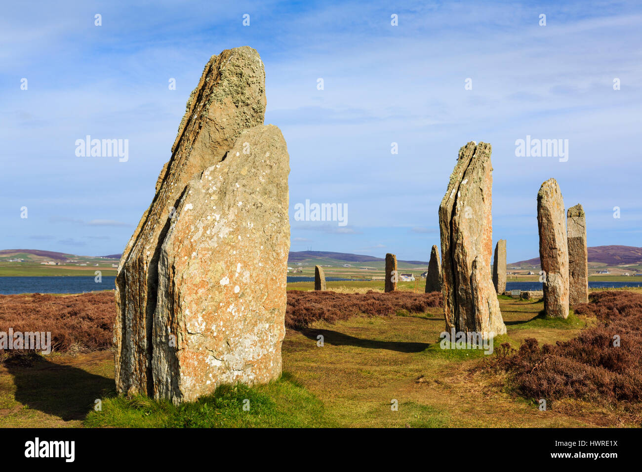 Orkney Islands Ring of Brodgar Neolithic henge and stone circle standing stones largest in Orkneys and UNESCO site - Stock Image