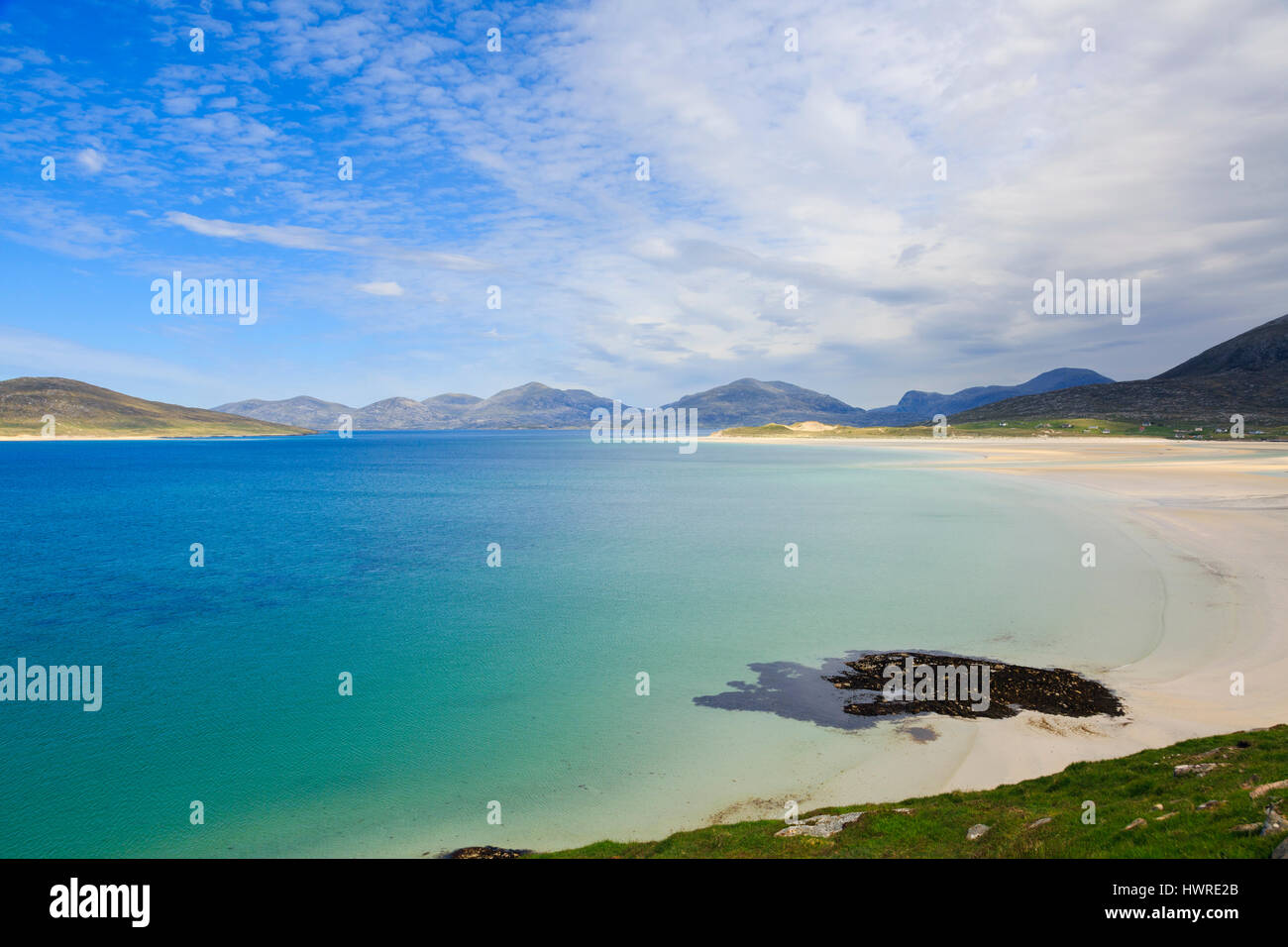 View across Sound of Taransay and Traigh Sheileboist beach to north Harris mountains. Seilebost Isle of Harris Outer - Stock Image