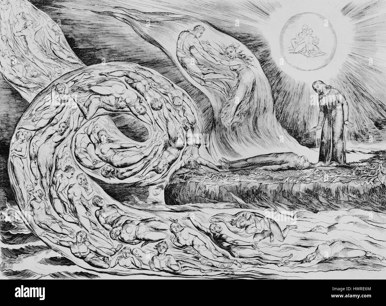 The Whirlwind of Lovers, Dante fainting with Pity at Francesca's Story by William Blake, from the illustrations - Stock Image