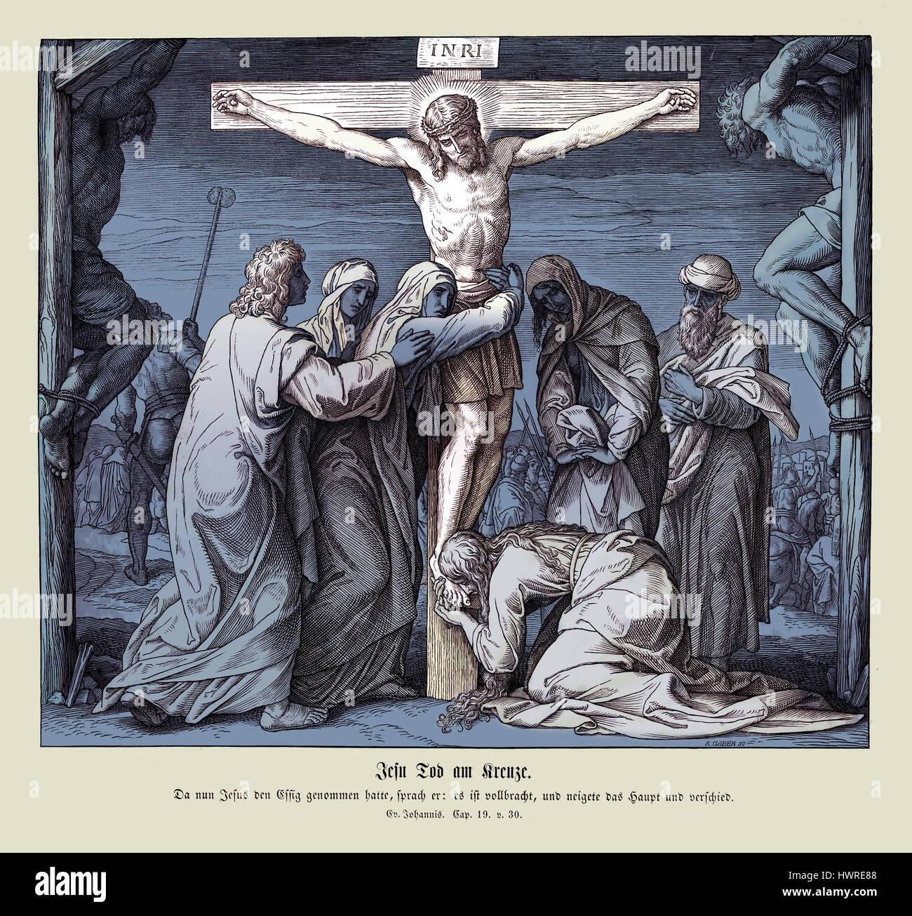 Death of Jesus on the cross, Gospel of John chapter XIX verse 30 'When Jesus therefore had received the vinegar, - Stock Image