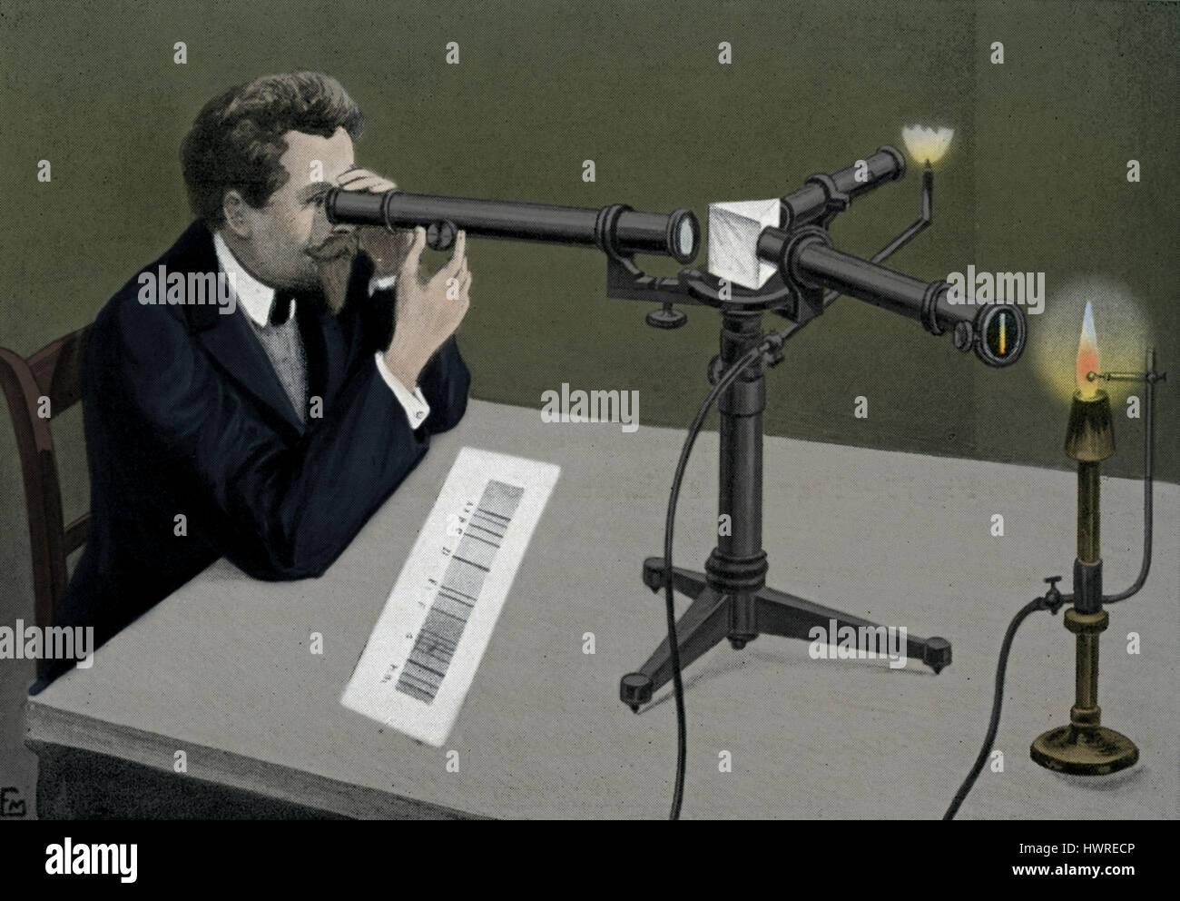 Observation with a Spectroscope. A spectroscope or spectrometer splits light into the wavelengths that make it up. Stock Photo