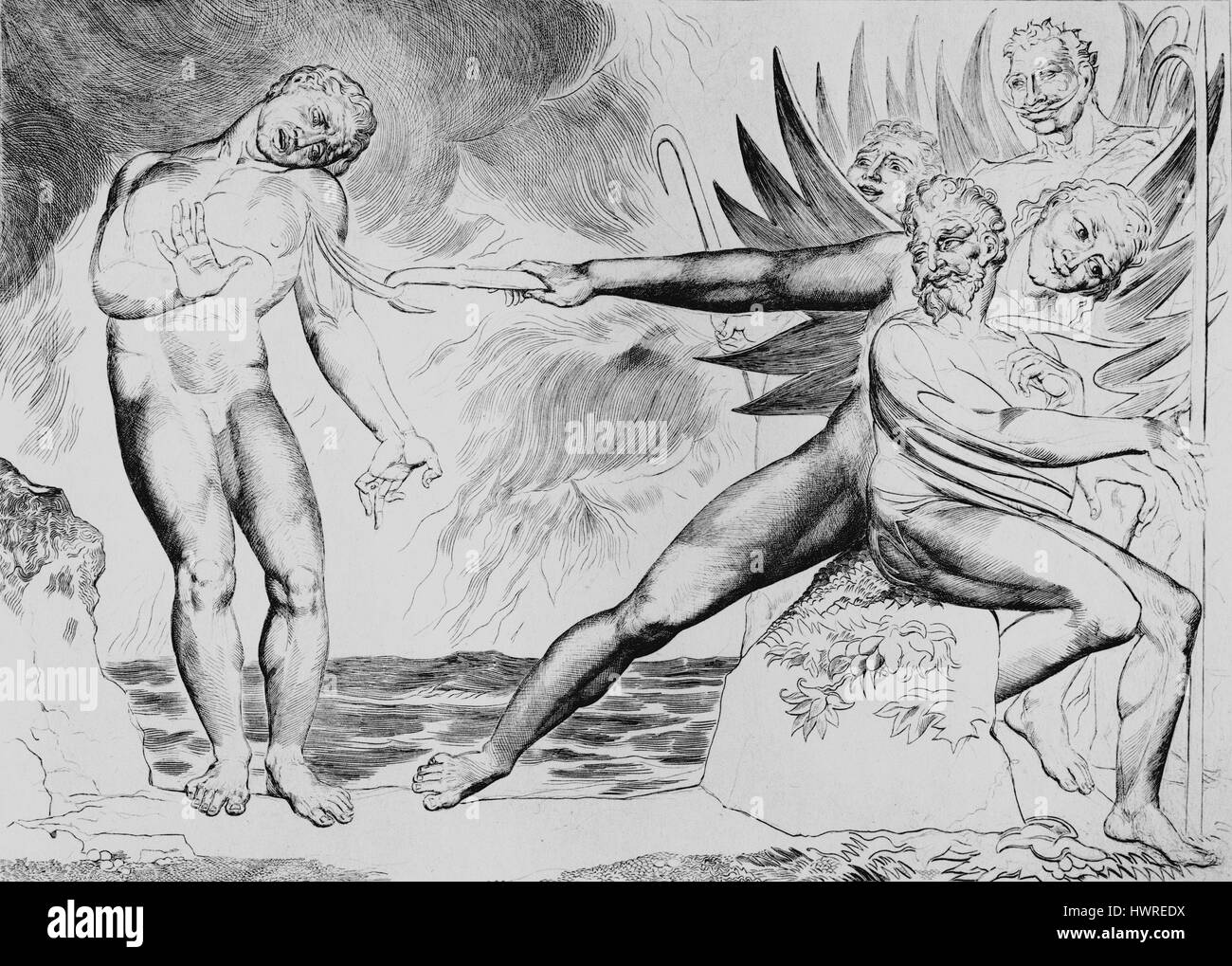 The Demons Tormenting Ceampolo by William Blake, from the illustrations to Dante; Inferno, Canto XXII, 1824. Ceampolo, - Stock Image