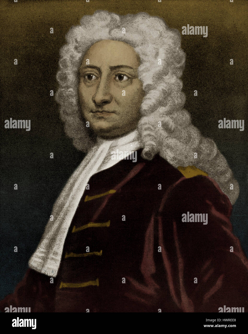 Edmund Halley. English astronomer, geophysicist, mathematician, meteorologist, and physicist. Computed the orbit - Stock Image