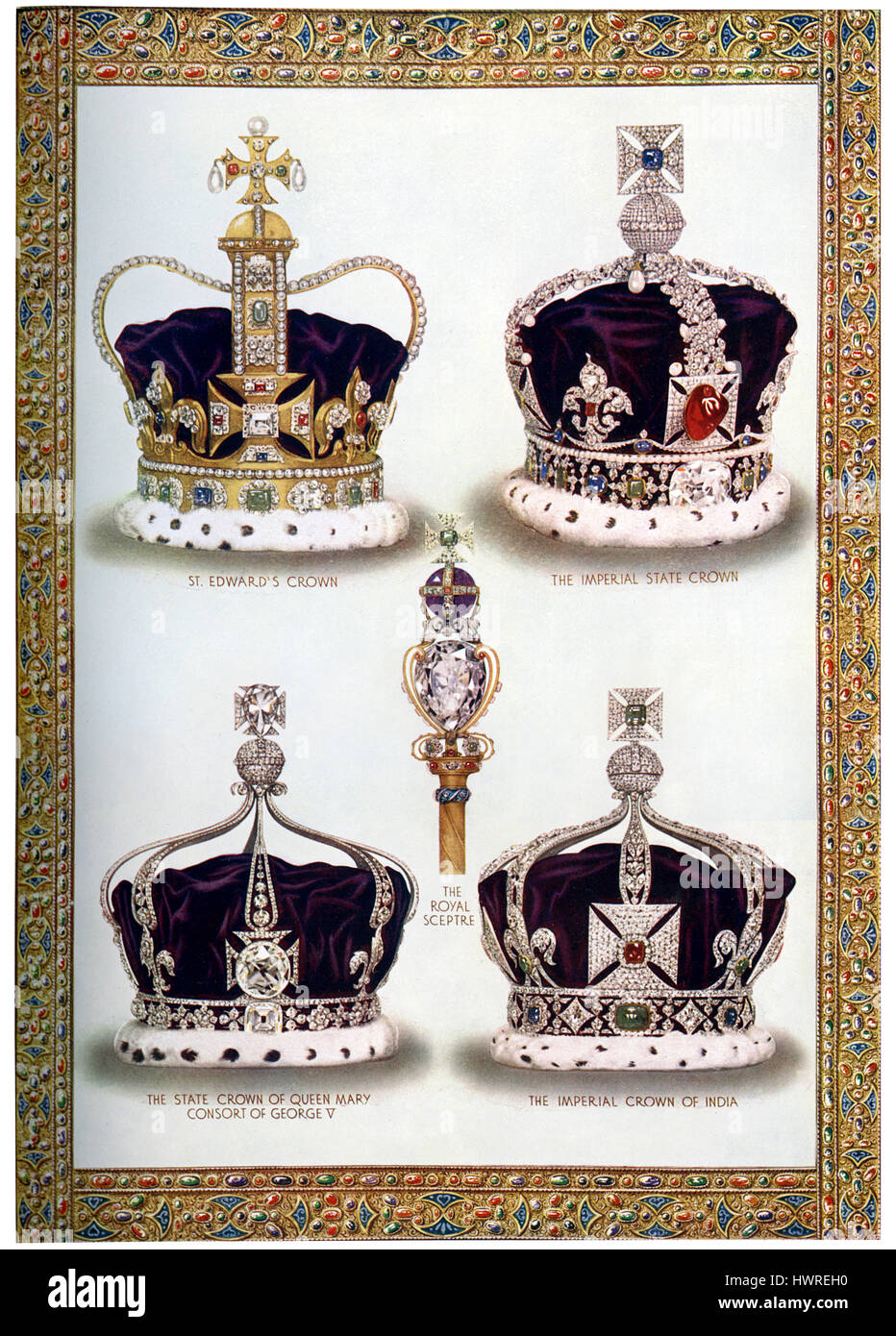 Royal crowns and sceptre, reign of King George V c. 1910. St Edward's Crown, Imperial State Crown, Royal Sceptre, - Stock Image