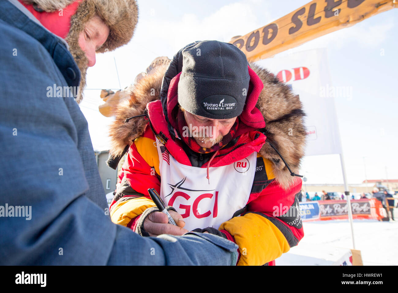 The winner of the 2017 Iditarod sled dog race arriving in Nome Alaska March 14th 2017 in a record breaking time. - Stock Image