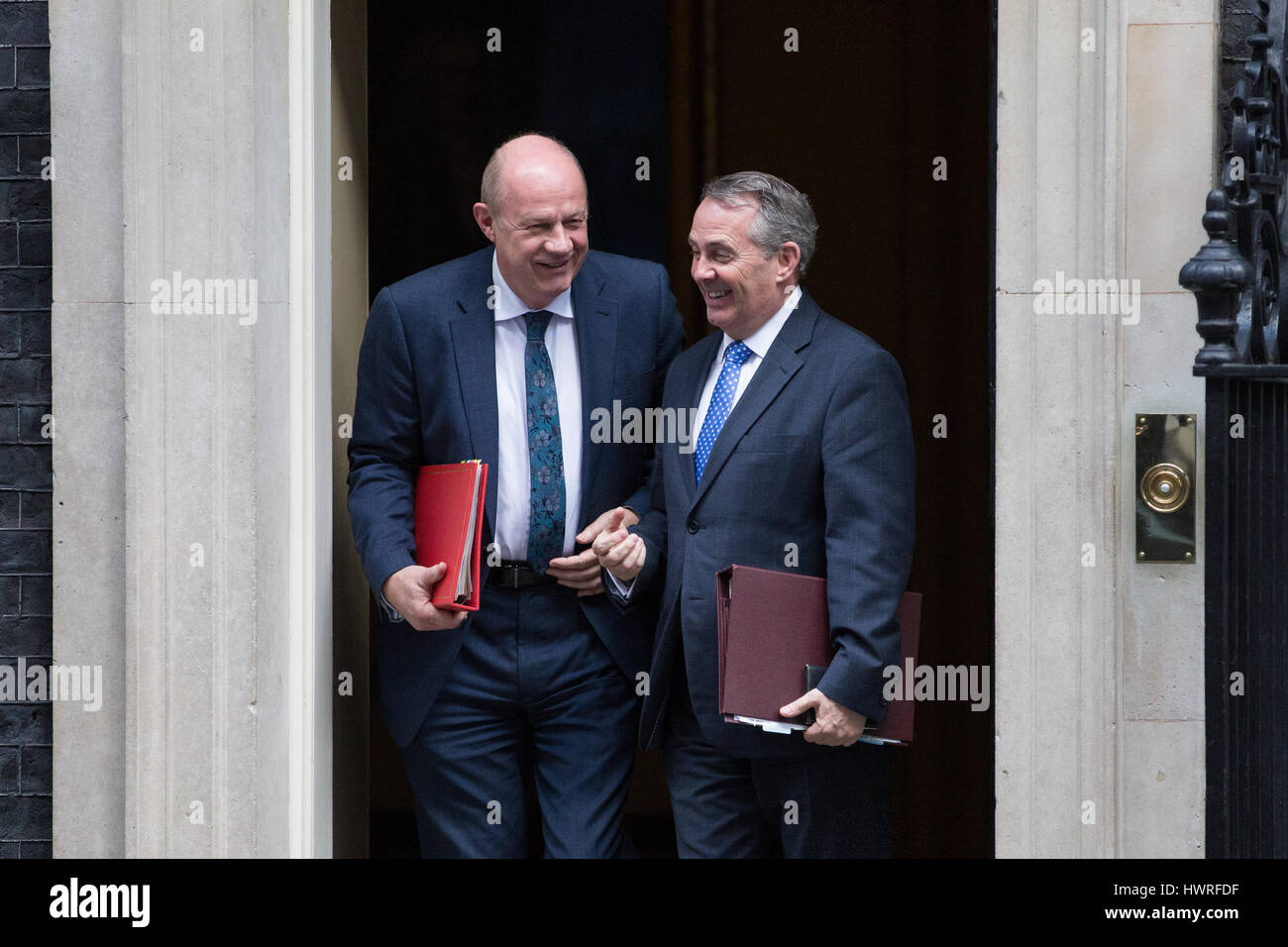 London, UK. 21st March, 2017. Damian Green MP, Secretary of State for Work and Pensions, and Liam Fox MP, Secretary - Stock Image