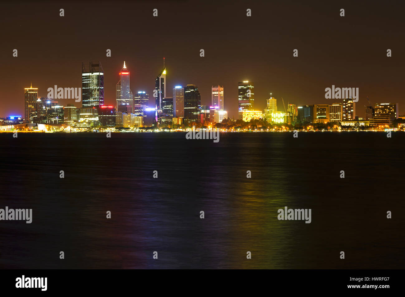 Perth at night, City Skyline, view over the swan river, Perth Australia, Western Australia, Australia, Down under - Stock Image