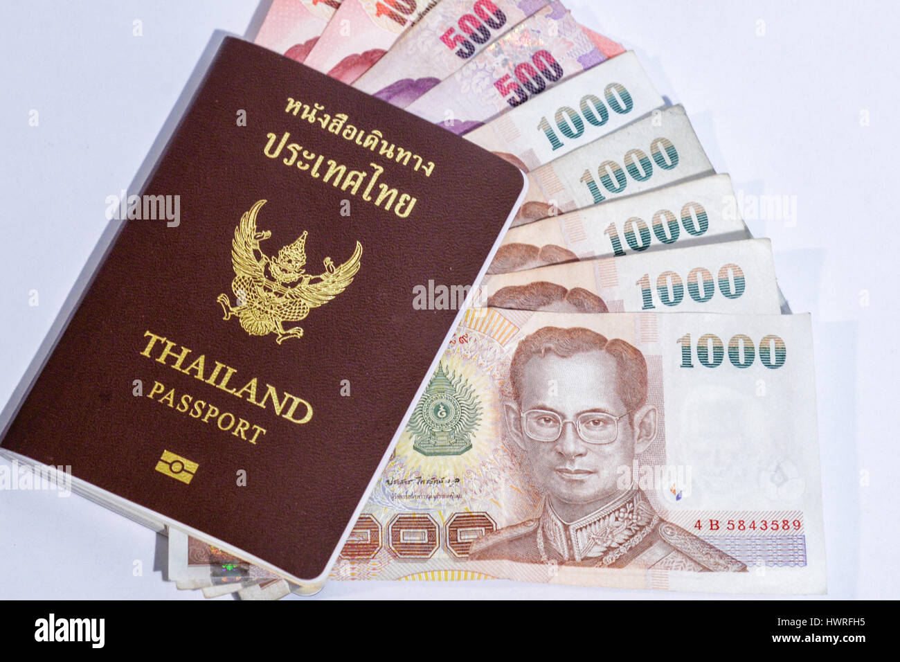 Thailand passport isolated on white background with thai