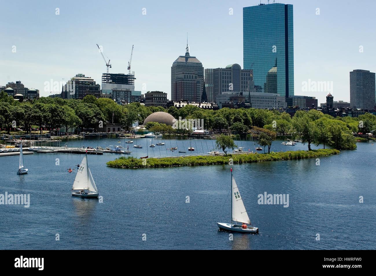 Boston's Back Bay buildings and the Esplanade Lagoon from the Longfellow Bridge, Boston, Massachusetts Stock Photo