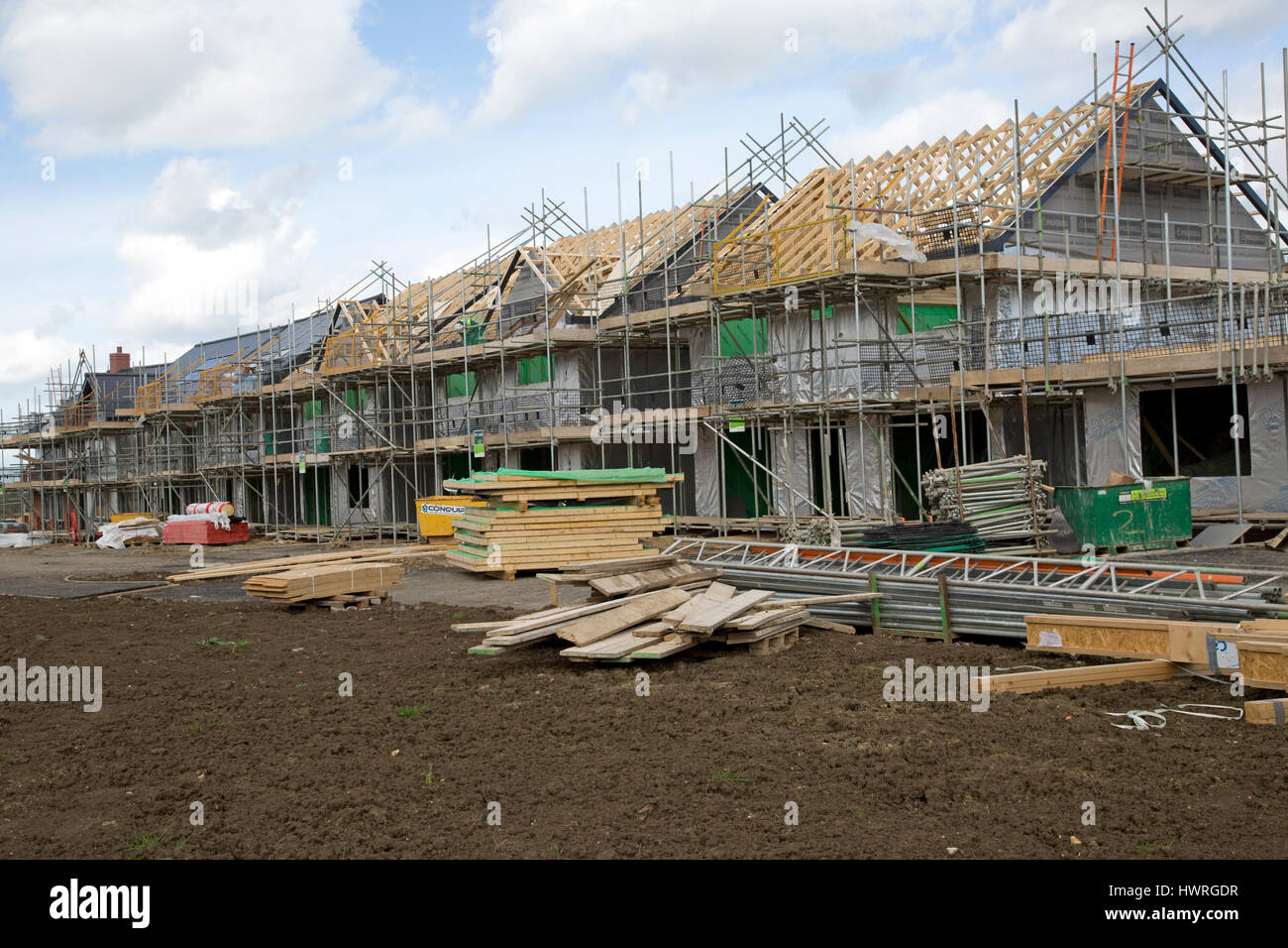 Building new contemporary houses with solar panels Persimmon Greenacres Bishops Cleeve Cheltenham UK - Stock Image