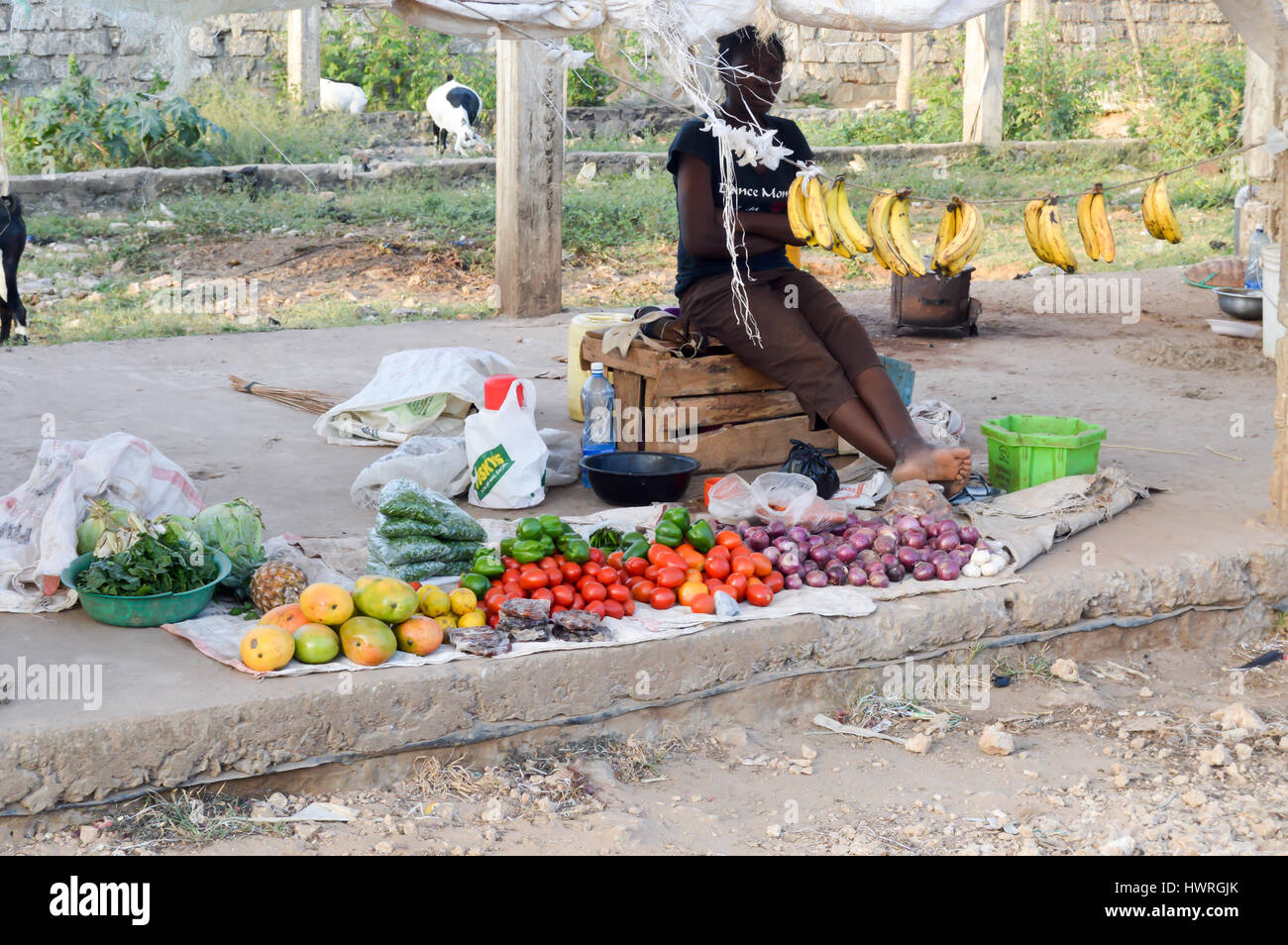 Selling fruit and vegetables under an old bache in the city