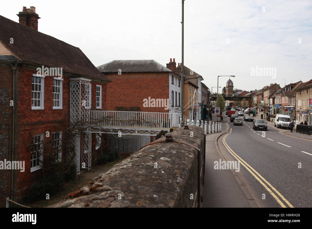 The High Street, Hungerford, Berkshire from the bridge over the Kennet and Avon Canal - Stock Image