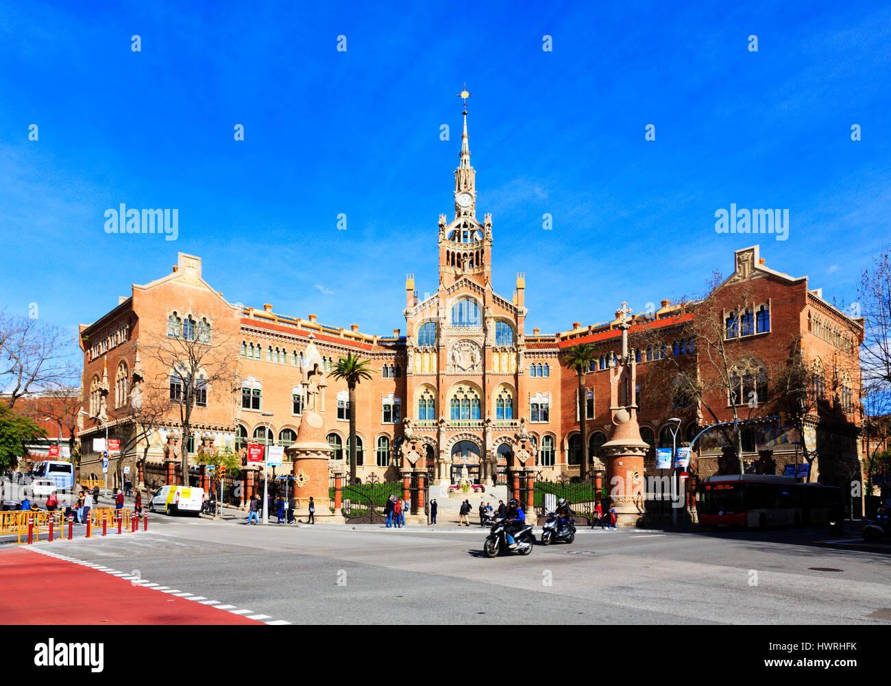The old Hospital de la Santa Creu i Sant Pau, now the exhibition centre and gallery, Recinte Modernista de Sant - Stock Image