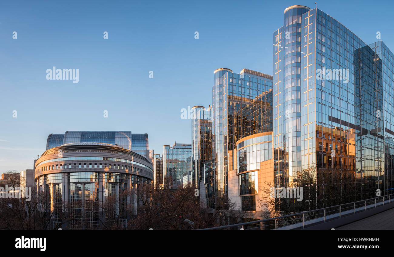 European Parliament in Brussels at sunrise - Stock Image