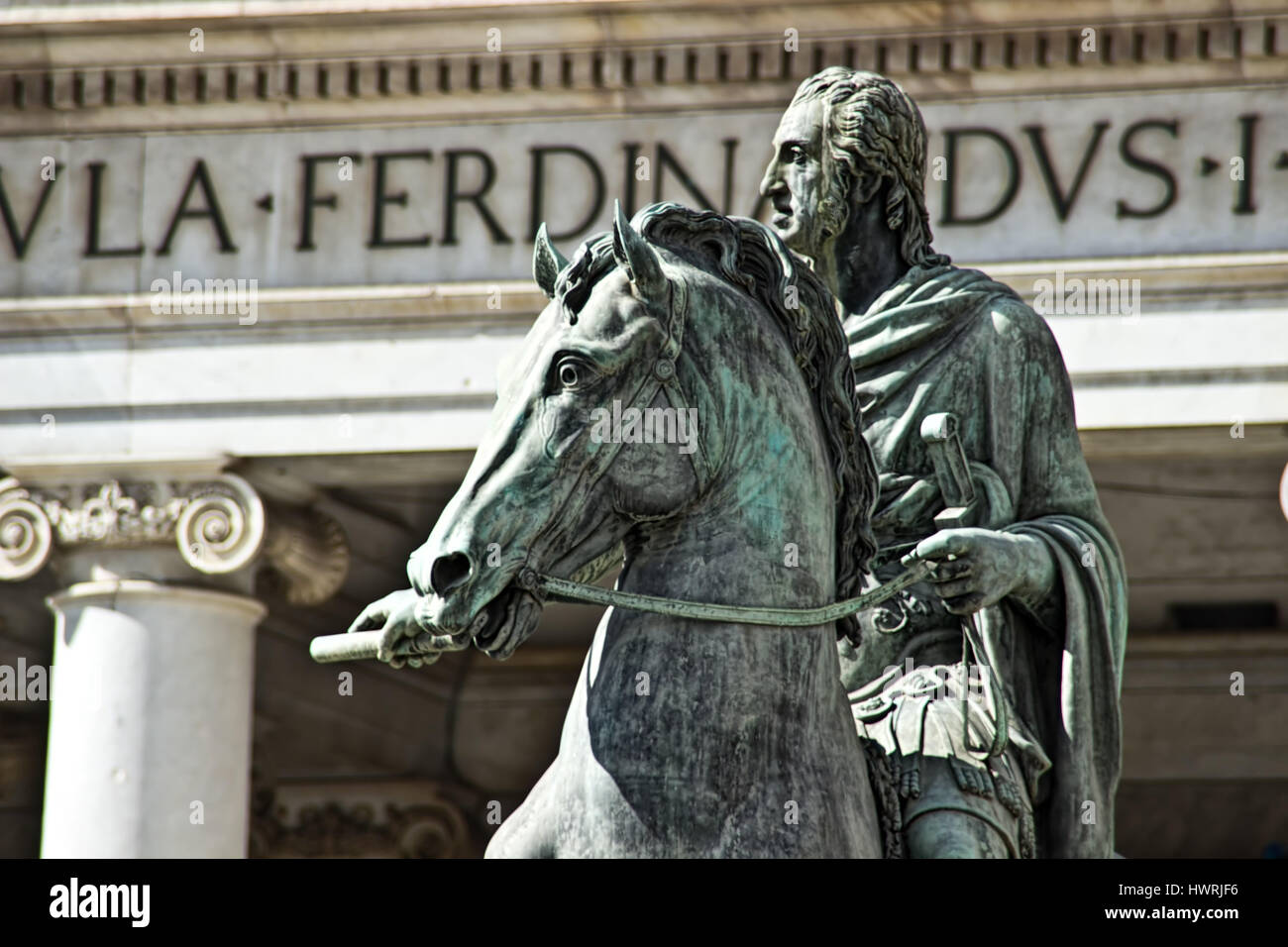 A statue in downtown Naples, Italy. - Stock Image