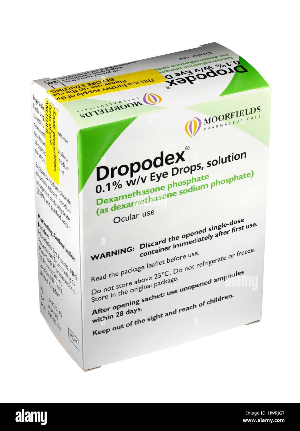 A box of 20 Dropodex 0.1% Dexamethasone sodium phosphate single dose eye drop solution 0.4 ml ampoules / ampules - Stock Image