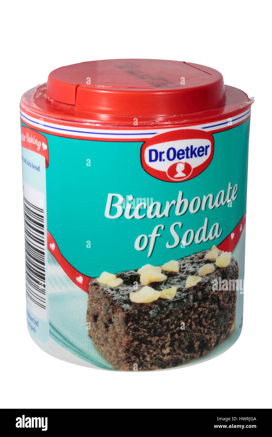 Dr. Oetker Bicarbonate of Soda bicarb isolated on a white background - Stock Image