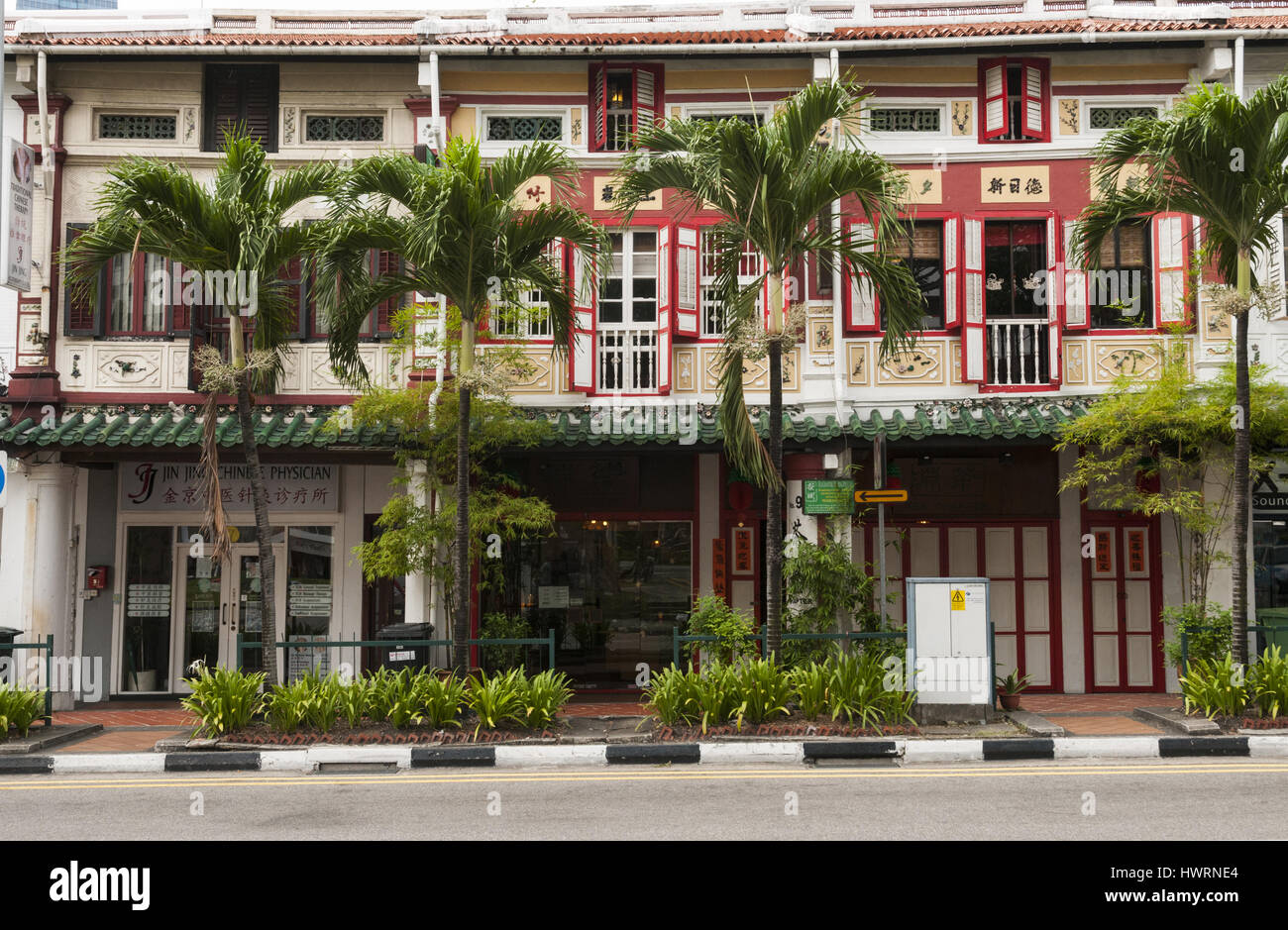 Singapore, Chinatown, Chinese shophouses - Stock Image