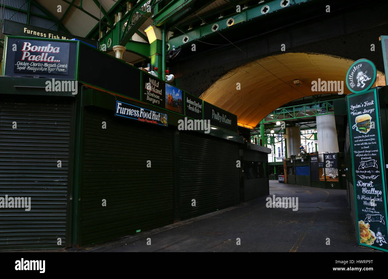 London Borough Market With No People And Stalls Closed During Day - Stock Image