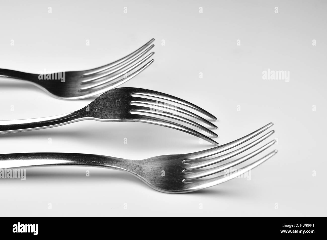 Forks isolated on white background - Stock Image