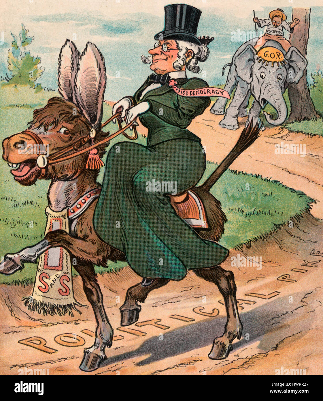 Transformed -  Illustration shows an old woman labeled 'Miss Democracy' riding on the Democratic donkey - Stock Image