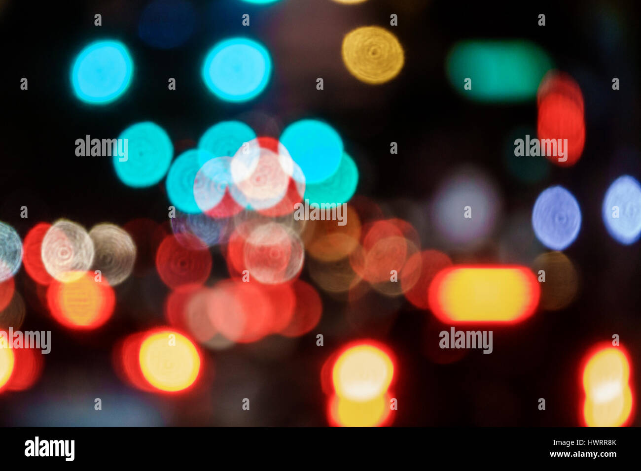 Miami Florida out-of-focus lights blur focus bokeh traffic lights visual effect red tail lights - Stock Image