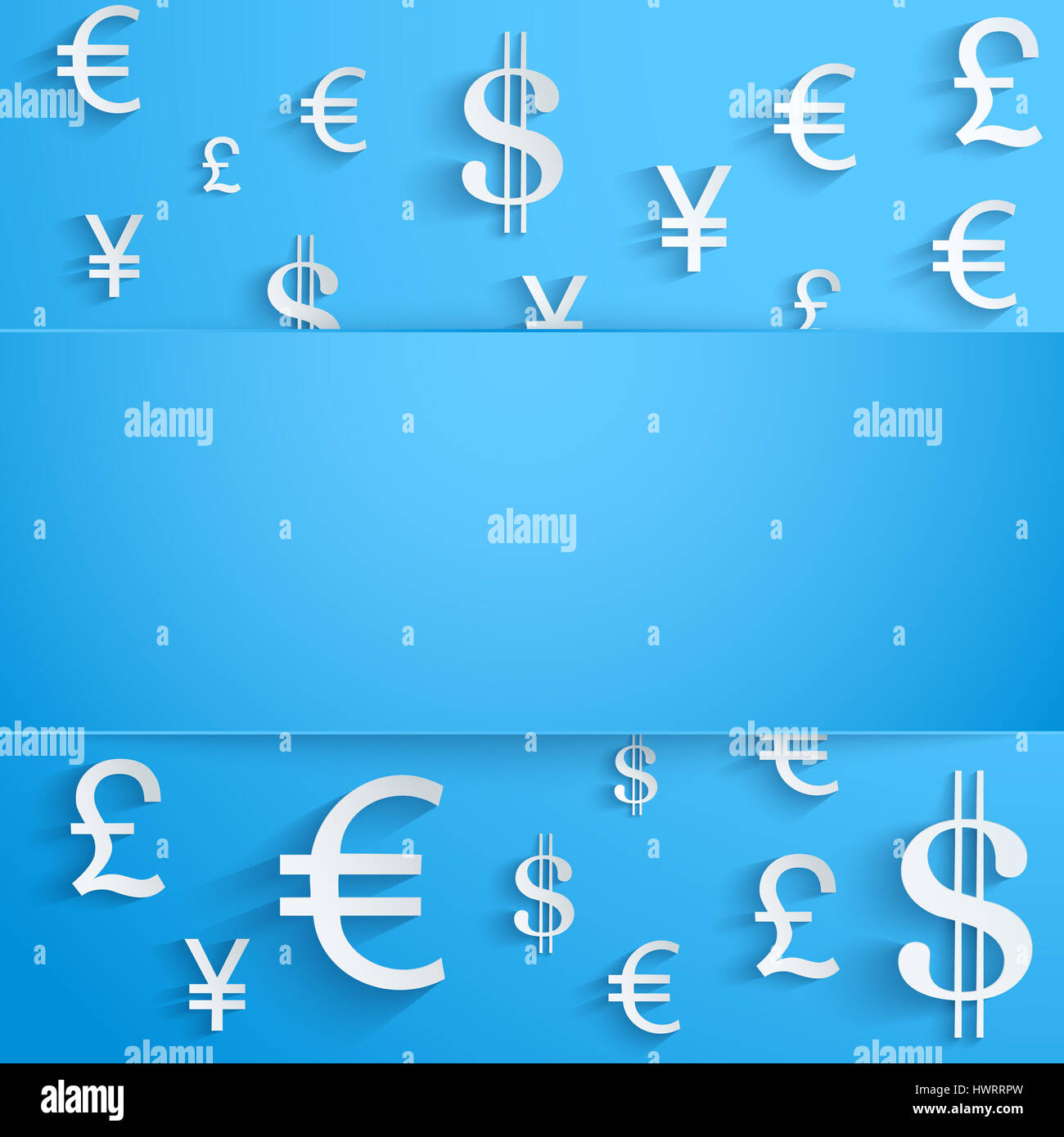 Currency Symbol On Bright Blue Background With Space For Text Stock