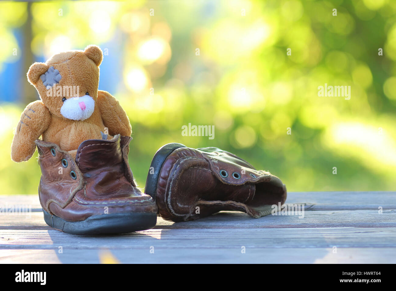 toy teddy bear table outdoor - Stock Image