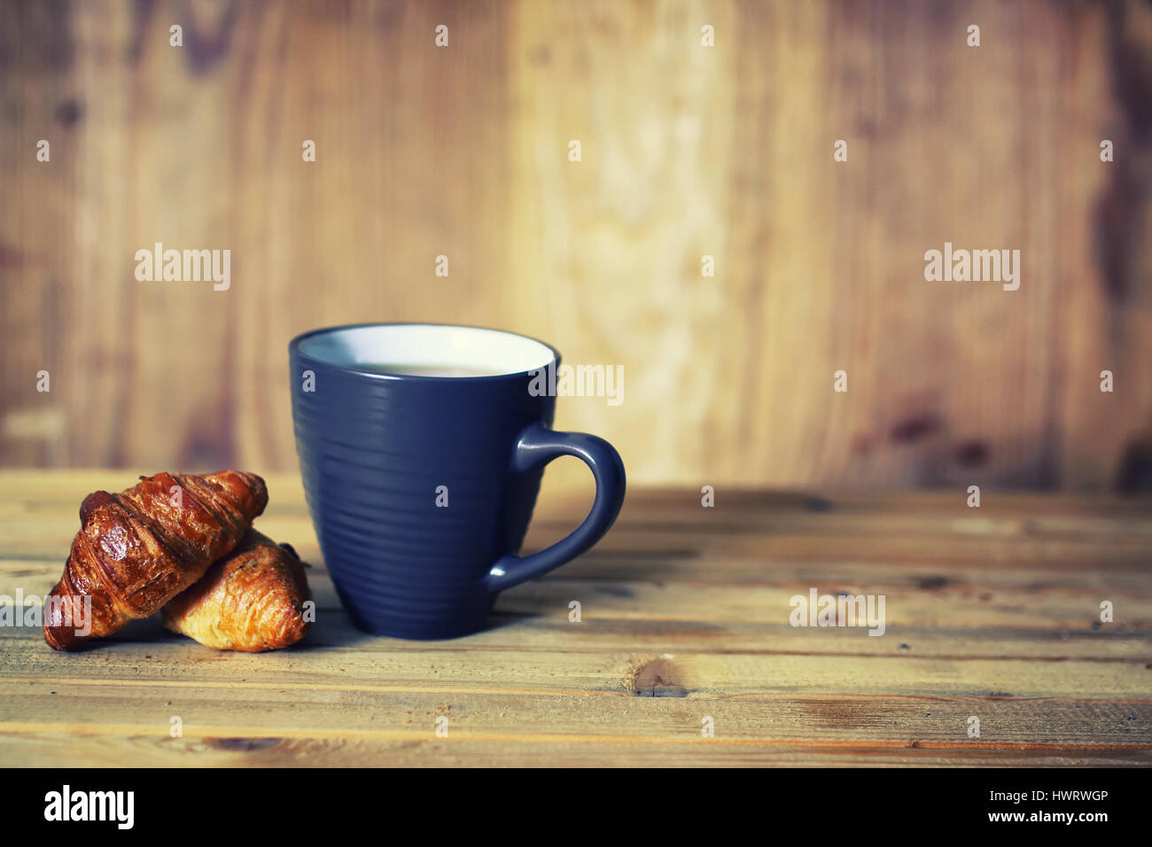 tea cup croissant breakfast Stock Photo