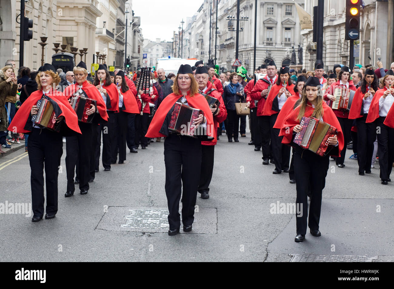 Bicester Village Marching Band in the St Patricks day Parade London - Stock Image