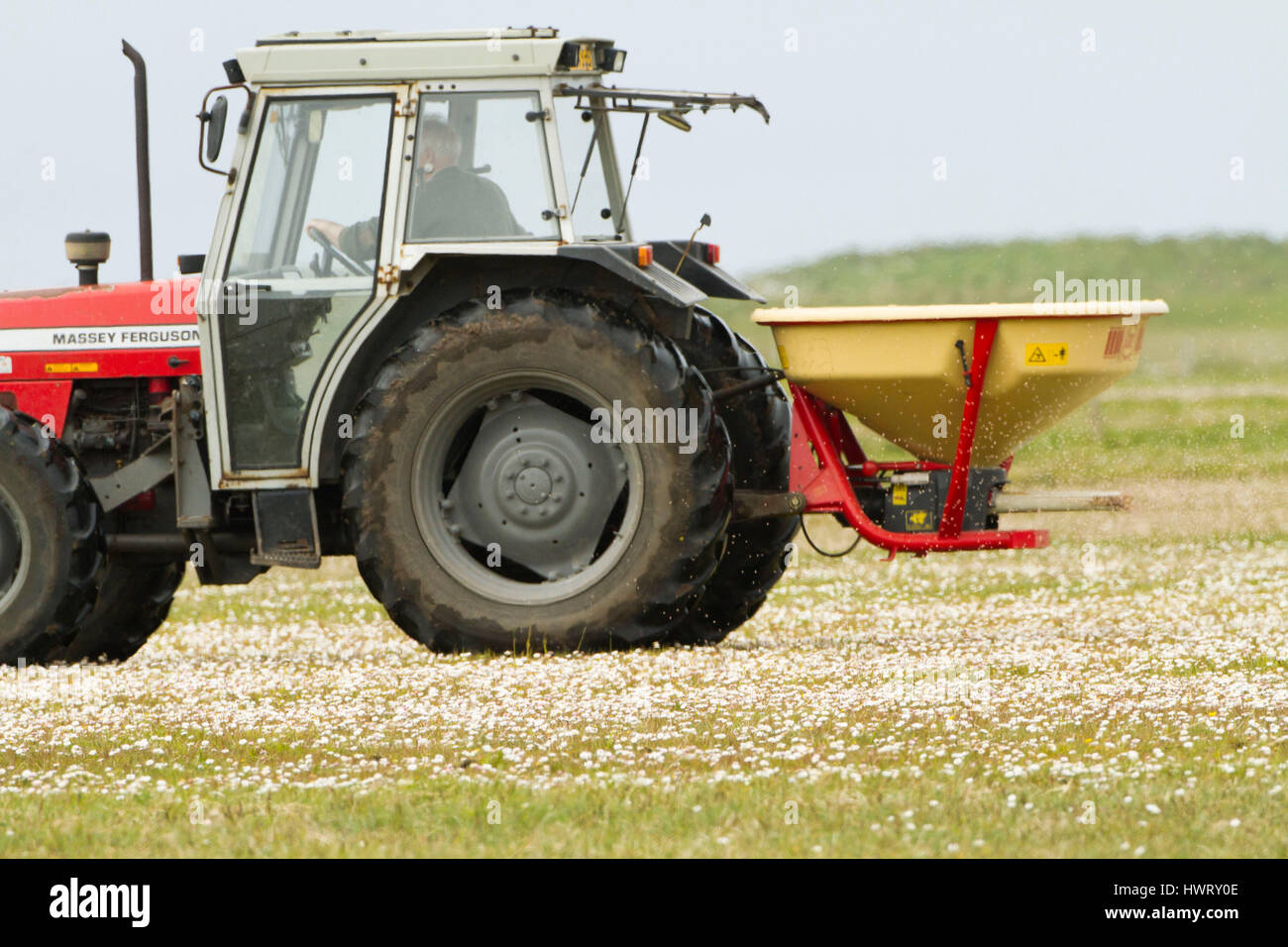 Machir being fertilized  to improve it for agricultural production by crofters, nitrogen fertilizer.Threat to bio - Stock Image
