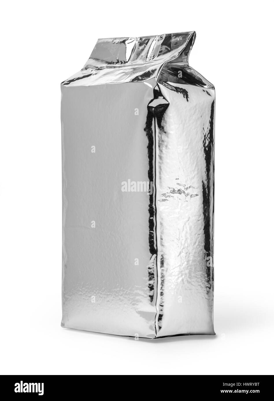 close up of an aluminum bag on white background  with clipping path - Stock Image