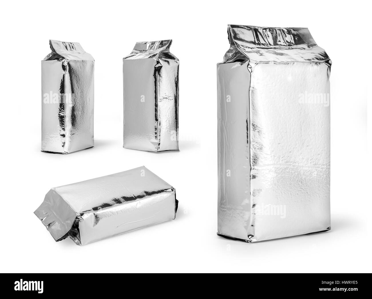 silver food package isolated on white background - Stock Image